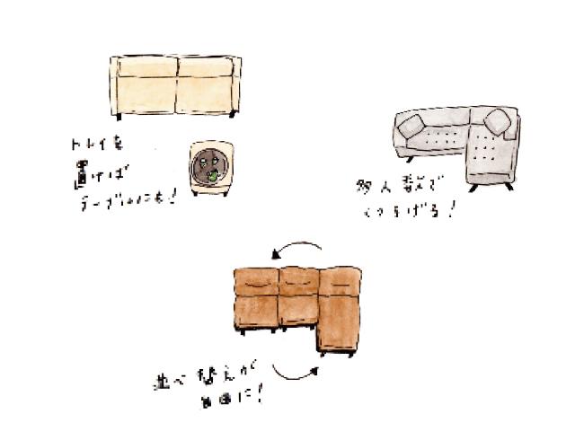 ソファのレイアウトはI字型とL字型の2パターン